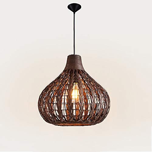 Pointhx Rattan Bambus Nest Deckenpendelleuchte Chinesische Antike Kronleuchter Lampe Vintage Wicker Rattan Hängen Licht Wohnzimmer Hotel Restaurant Suspension Laternen (Größe : S-34 * 33CM) -