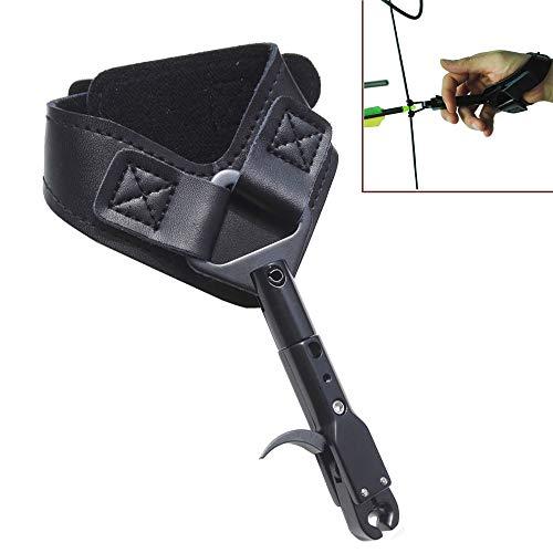 MILAEM Compound Bogen Spannhilfen Release Aid Trigger 360 Grad drehen Zangenrelease mit Handgelenkschlaufe Sehnenauslöser Zubehör zum Bogenschießen (Schwarz)