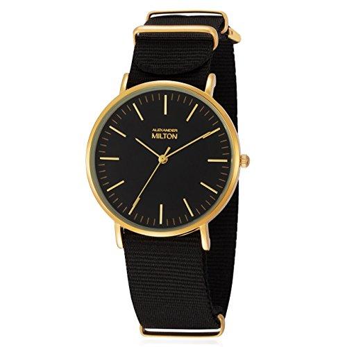 ALEXANDER MILTON - montre homme - LAREN, noir/dore