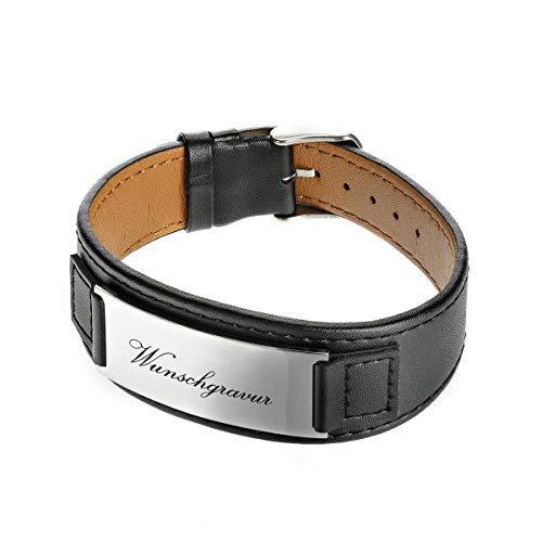polar-effekt Lederarmband schwarz mit Gravur - Armband