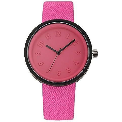 pkaty Unisex moda ocio fácil estilo PU Cuero Banda Cuarzo muñeca relojes para hombres/mujeres con Lovely Box-Rose