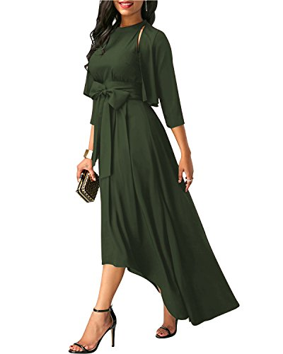 79f60dae9bef8 -71% GIKING Women s Elegant Jacket+Belt+Dress Formal Asymmetrical Long  Dresses for Summer Army Green