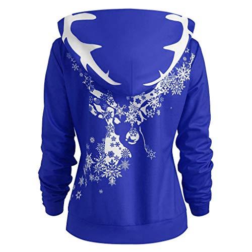 TEBAISE Weihnachts Pullover Kleid Slim Fit Christmas Sweatshirt Damen Mode Frauen Langarmshirt Frohe Weihnachten Snowflake Printing Tops Strickpullover Lang Bluse Shirt