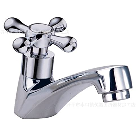 Modern fashion bathroom sink faucet Single cold faucet wash basin cross flower hand basin faucet Luntai copper chrome silver basin