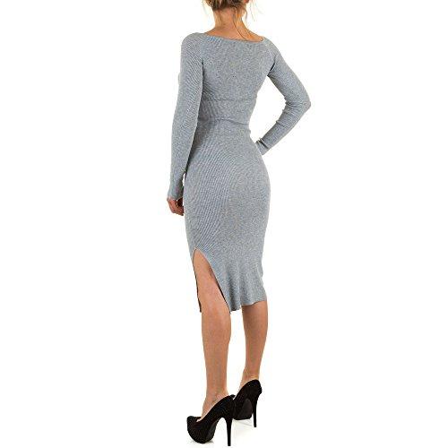 Damen Kleid, DAMEN STRETCH KLEID, KL-C380 Grau