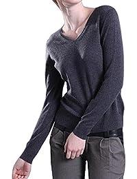 Zicac - Pull classique Manche longue Uni Col V Femme