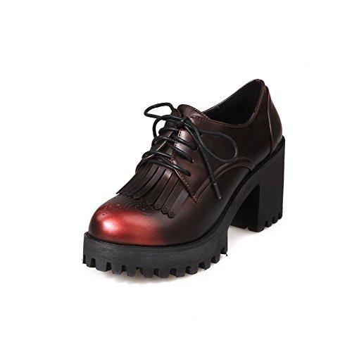 AgooLar Damen Schnüren Rund Zehe Hoher Absatz Fransig Pumps Schuhe Rot