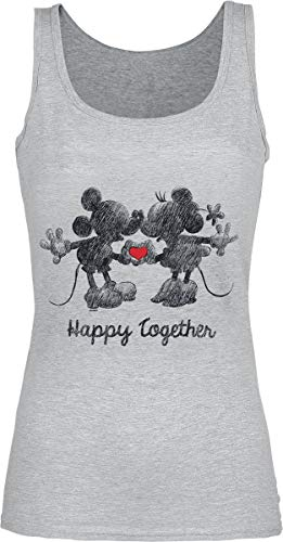 Micky Maus Mickey & Minnie Mouse - Happy Together Top grau meliert XXL