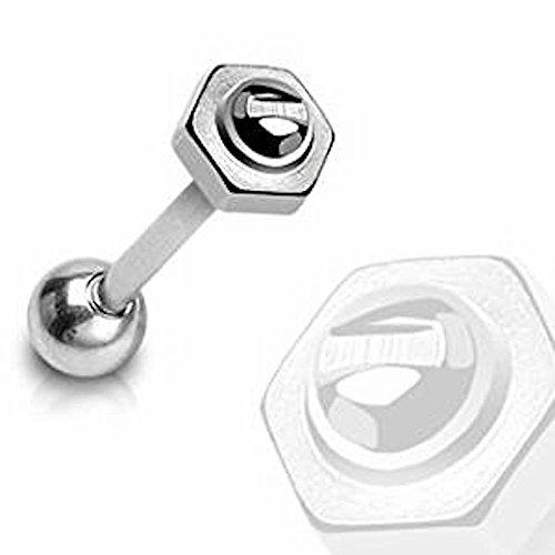 1 x DIY 6mm Schraube Bolt Top Zunge Bar Piercing Dicke: 1,6 mm Länge: 16mm Material: Chirurgischer Stahl (Geburt Kostüme Diy)