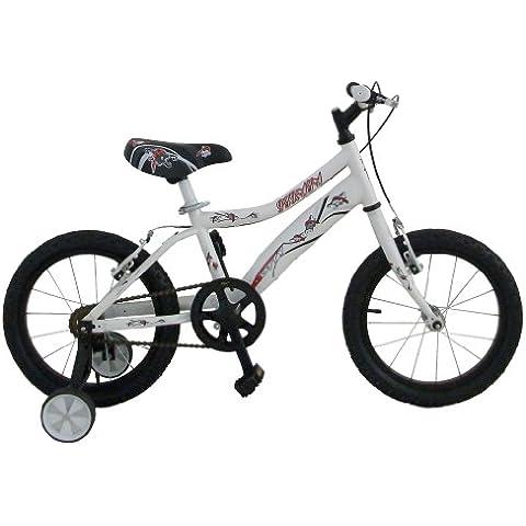 Bicicleta infantil para niño de entre 4 y 6 años Gotty PIRATA, con ruedines, color blanco
