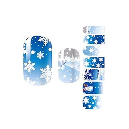 3 PCS Fantastique Bleu Snowflake Style Motif Ongles Accessoires Autocollants