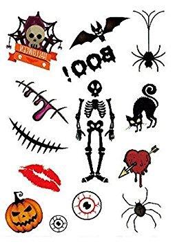 Nalmatoionme 8pcs special design funny water film paper halloween tattoo adesivi decorazione