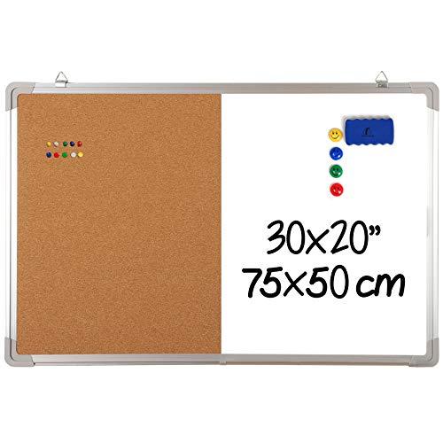 Whiteboard Pinnwand Set - Magnettafel/Korkwand 75x50cm mit 1 magnetischem Schwamm, 4 Magnete und 10 Reißnägel - Große Kombitafel White Board Korkpinnwand