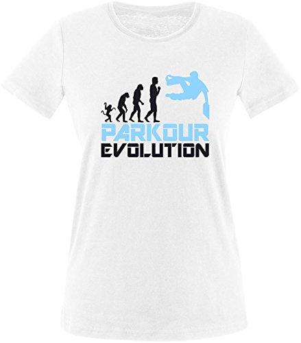 EZYshirt® Parkour Evolution Damen Rundhals T-Shirt Weiß/Schwarz/Hellbl