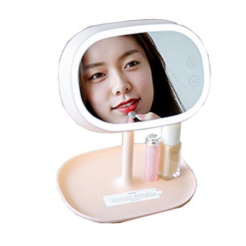 LEI ZE Jun UK Mirror- Miroir de Maquillage de Recharge avec Lampe de Table à LED Miroir de Bureau portatif Beauté Miroir de beauté Miroir de Dressage à Un Cadran réglable ABS sur Pied