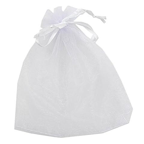 Generic, Organza, für Hochzeiten, mit Kordelzug, Candy Packung, Schmuck Etui, Geschenk Beutel, 50 Stück, weiß, weiß, 20x30cm