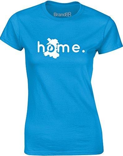 Brand88 - Home: Wales, Gedruckt Frauen T-Shirt Türkis/Weiß
