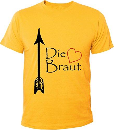 Mister Merchandise Herren Men T-Shirt Die Braut - JGA Junggesellinnenabschied Tee Shirt bedruckt Gelb