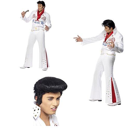 Fancy Dress Four Less Elvis Presley American Eagle Kostüm Erwachsene Kostüm Overall mit Gürtel und Schal Las Vegas The King Hirsch Do mit/ohne Quiff Perücke und Seitenverbrennungen