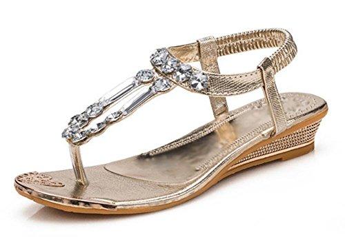 Slope mit niedrigen Absätzen Sandalen Strass Clipschäkelbolzen weibliche Badesandalen Sommer Sandalen und Pantoffeln Gold