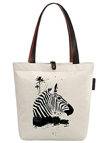 So'each Women's Animal Zebra Coconut Tree Canvas Handbag Tote Shoulder Bag