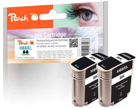 Peach PI300-475 Ink Cartridge for HP C9396AE, No. 88XL - Black (Pack of 2)