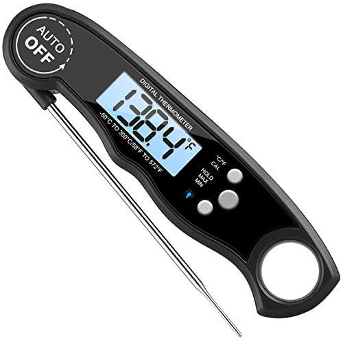 AMIR Küchenthermometer, Grill Thermometer Bratenthermometer Fleischthermometer Wasserdichte Sofortige Lesen Kochen Thermometer mit Digital LCD-Bildschirm für Küche, BBQ und Süßigkeiten, Schwarz