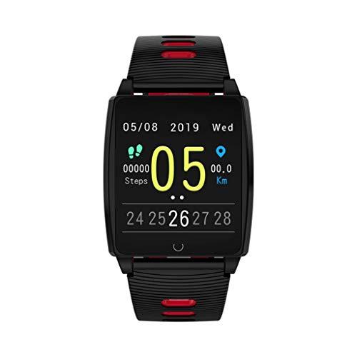 TIianranRT Smartwatch, AK18 Herzfrequenz-Blutdruck-Schlafmonitoring SmartWatch Pedometer Tracker, Fitness Tracker Wasserdicht Fitness Watch mit Herzfrequenz Messgerät Schlafmonitor (Rot)