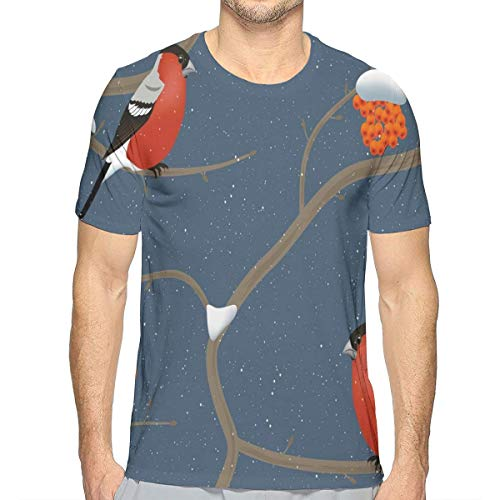 3D Printed T Shirts for Mens,Winter Pattern with Snowy Tree Branches Orange Berries and Bullfinch Birds L - Rainbow Light Berry