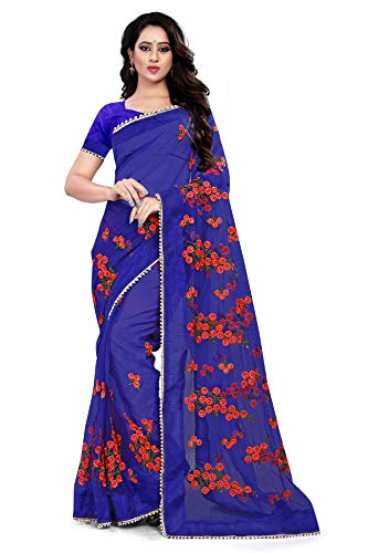 Orangesell Women\'s Mono net Embroidery work Saree With Blouse Piece
