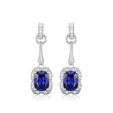 JewelryPalace Elegantes Rechteck 3.7ct Erstelltes Blau Sapphire Drop baumeln Ohrringe