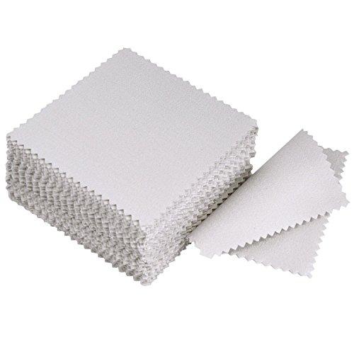 LANGING 50 Stück Schmuckputztuch Poliertuch für Sterling Silber Gold Platin Grau