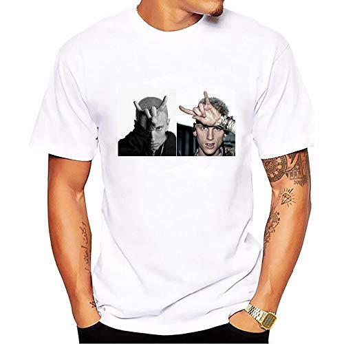 WEY T-Shirt Rapper Eminem MGK Bedrucktes Lässiges T-Shirt Unisex-Hemd,Weiß 2,XXL (Mgk-t-shirt)