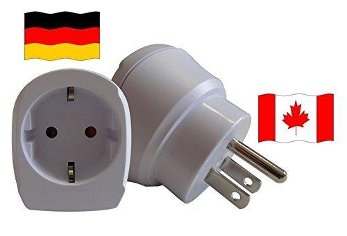 Design Reisestecker Adapter für Kanada auf Deutschland für Schukostecker, Umwandlungsstecker CA-D