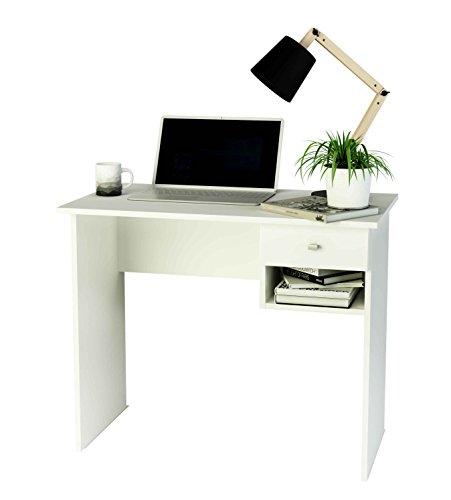 Mesa de estudio de melamina con cajón (varios colores) de 90 cm de ancho, Samblo Hana, color blanco
