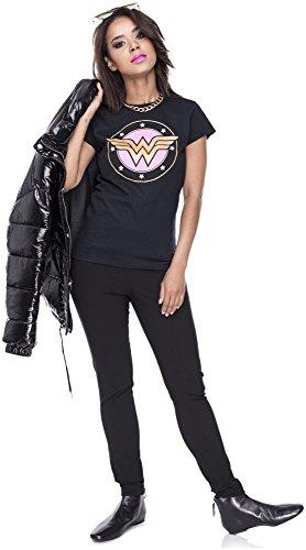 Tshirt Wonderwoman Damen Shirt Superheldin T-Shirt Frontprint Comic Kostüm Karneval Fasching Verkleiden Schwarz