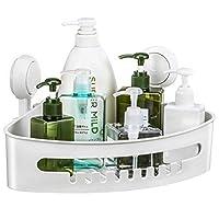 Ulinek Shower Basket, Corner Shower Caddy Bathroom Storage Organiser Shelf Rack with Suction Cup Heavy Duty Bathroom Kitchen Box Container for Shampoo Conditioner Soap Razor