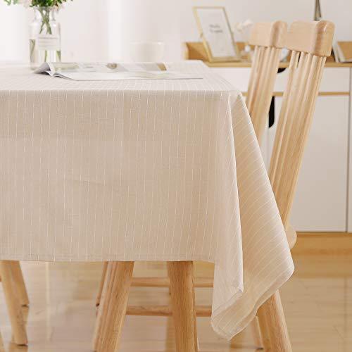 Deconovo Wasserabweisend Streifen Tischwäsche Lotuseffekt Lotuseffekt Tischdecke Tischtücher 130x220 cm Creme