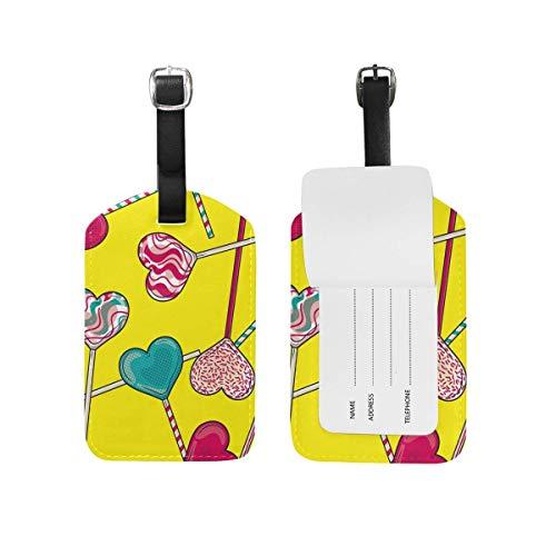Herzförmige Lutscher Süßigkeiten Gepäckanhänger PU-Leder Tasche Koffer Gepäck Label 2 Stück Set -