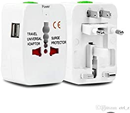 AlexVyan Universal International World Wide Travel Power Plug With Built In Dual USB Charger Ports 100-240V Surge/Spike Protected Electrical Plug, European Adapter, Worldwide AC Outlet Plugs Adapters for Europe, UK, US, AU, Asia - White