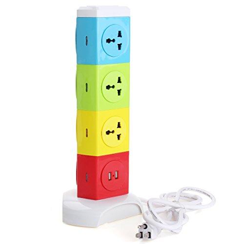 Tutoy Alardor Vierstufig Rotierenden Sockel Patch Panel USB-Steckkarte Überspannungsschutz Power Strip - Us-Stecker