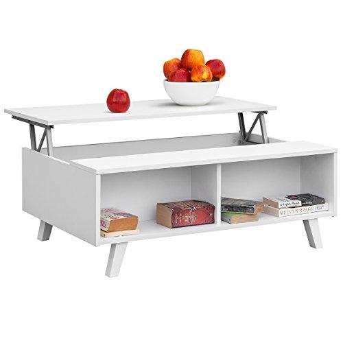 Table basse Comifort relevable moderne pour salle à manger ou salon 100x 65,6x 38