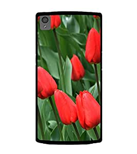 Red Tulips 2D Hard Polycarbonate Designer Back Case Cover for OnePlus X :: One Plus X :: One+X