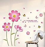 Deco-Designs Wandtattoo Pink-Flower DDS 336 Deutscher Händler Blumen Wohnzimmer Küche Schlafzimmer