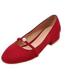 Coolcept Mujer Simple sin Cordones Bombas Zapatos Tacon Ancho Bajo Cerrado  Zapatos con Perla 726b59f72ffb