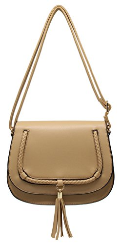 Crazychic - borsa a tracolla donna - borse a spalla borsetta pu pelle grana - borsa messenger borse a mano chiusura magnetica - pochette da sera clutch bag moda signora viaggio - marrone talpa