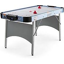 oneConcept Polar Combat tavolo da gioco (76 x 82 x 162 cm, air hockey, due piattini, due dischi, tabellone per i punti, sistema di ventilazione silenzioso) - argento