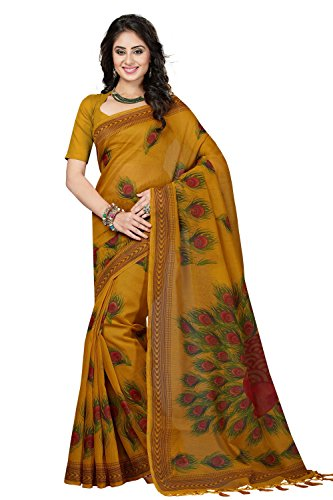 Rani Saahiba Cotton Saree With Blouse Piece (SKR2901_Mustard_One Size)