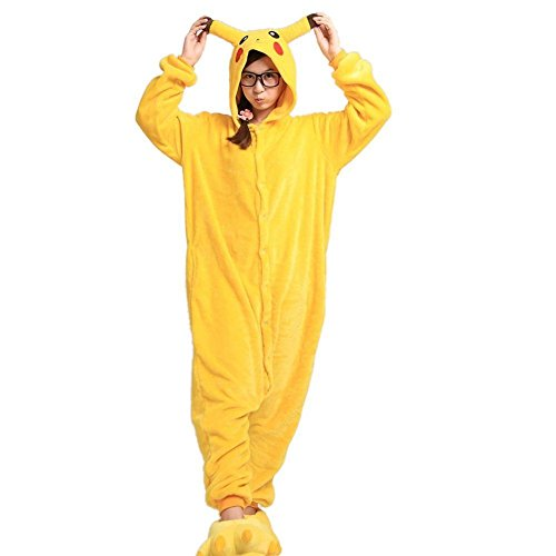 Imagen de wanziee  disfraz de pikachu, sudadera con capucha tipo cosplay, pijama de dibujos animados, de halloween. alternativa