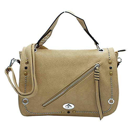 MISEMIYA - Borsa a Mano Donna Pochette e Clutch Borse a mano e a spalla mano borsa SR-J47(38 * 25 * 11CM) - Cammello